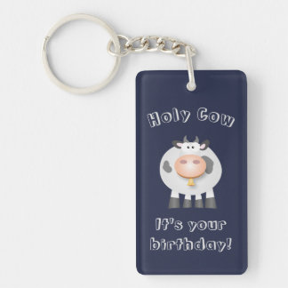 Cute Holy Cow Funny Happy Birthday Party Favor Keychain