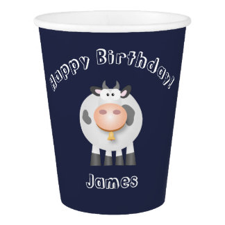 Cute Holy Cow Funny Happy Birthday Party Paper Cup