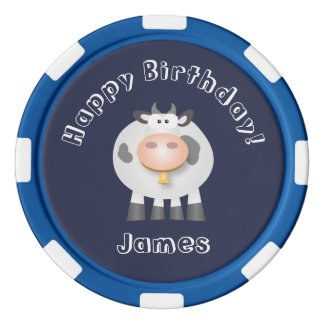 Cute Holy Cow Funny Happy Birthday Party Poker Chips