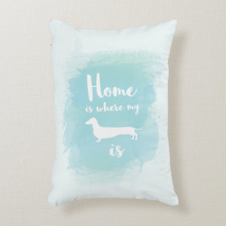 Cute Home is where my dachshund is watercolor Decorative Pillow