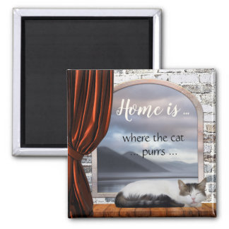 Cute Home is where the Cat purrs Painting Magnet