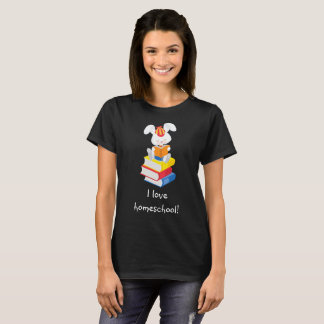 Cute Homeschool Bunny Reading T-Shirt