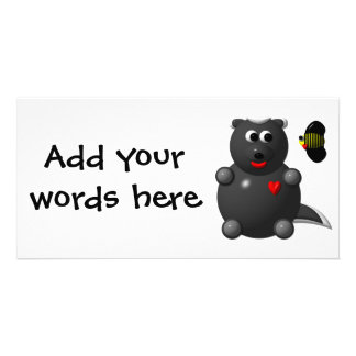 Cute Honey Badger and Honey Bee: Don't badger me! Customized Photo Card