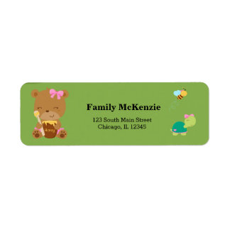 Cute honey bear return address label