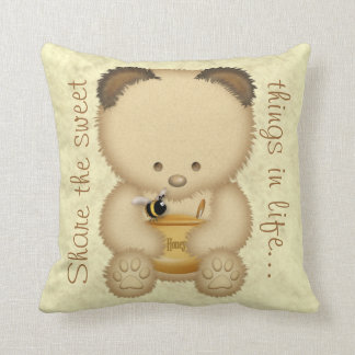 Cute Honey Bear Throw Pillow