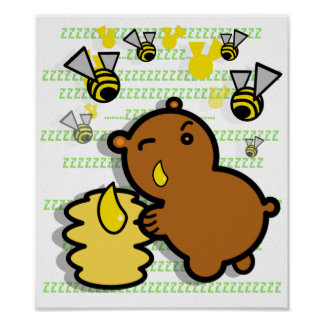 cute honey bear with bees poster - 2