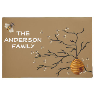 Cute Honey Bees and Hive, Custom Doormat