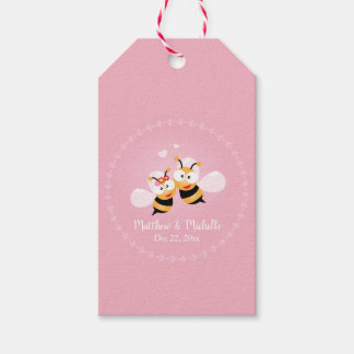 Cute Honey Bees Bride Groom Pink Wedding Thank You Gift Tags
