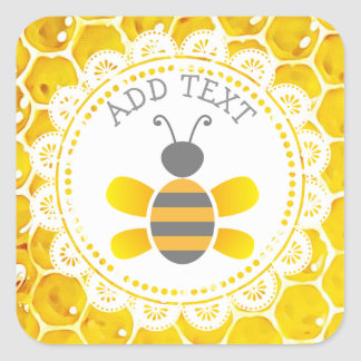 Cute Honeybee Honeycomb Black and Yellow Stickers