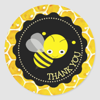 Cute Honeybee Honeycomb Thank You Stickers