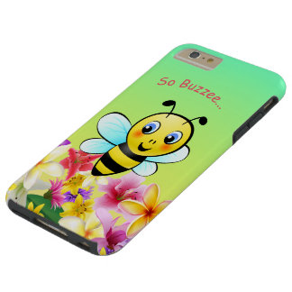 Cute Honeybee With Colorful Flowers Tough iPhone 6 Plus Case