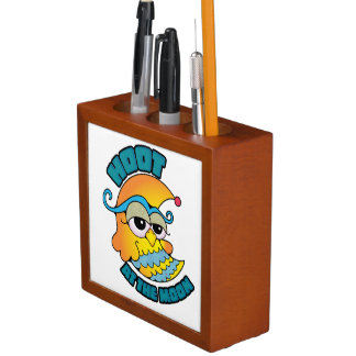 Cute Hoot At The Moon Owl Cresent Cartoon Graphic Pencil Holder