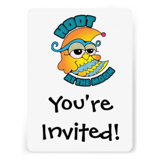 Cute Hoot At The Moon Owl Cresent Cartoon Graphic Invitation