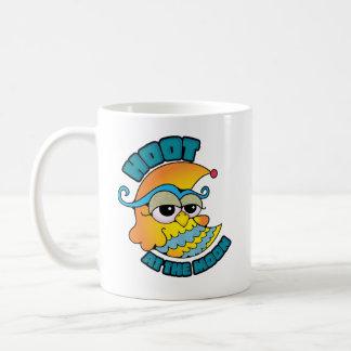 Cute Hoot At The Moon Owl Cresent Cartoon Graphic Mugs