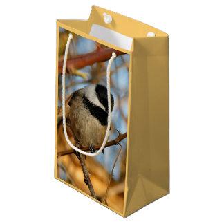 Cute Hopeful Hungry Black-Capped Chickadee Small Gift Bag