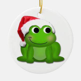 Cute Hoppy Christmas Froggy Ceramic Tree Ornament