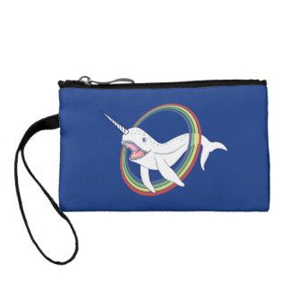 Cute Horn Narwhal With Rainbow Cartoon Coin Wallets