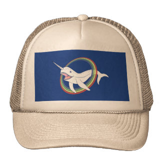 Cute Horn Narwhal With Rainbow Cartoon Trucker Hat