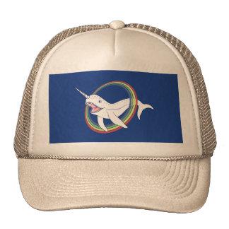 Cute Horn Narwhal With Rainbow Cartoon Trucker Hat