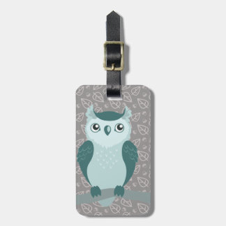 Cute Horned Owl - Minty Green Luggage Tag