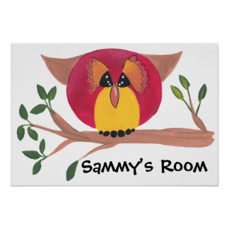 Cute Horned Owl Painting Poster