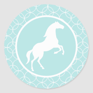 Cute Horse; Baby Blue Circles Classic Round Sticker
