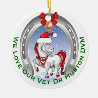 Cute Horse Christmas Gift for Veterinarian Round Ceramic Ornament