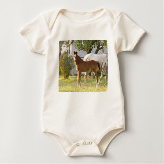 CUTE HORSE FOAL AND MARE BABY BODYSUIT