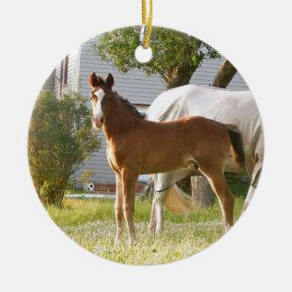 CUTE HORSE FOAL AND MARE CERAMIC ORNAMENT
