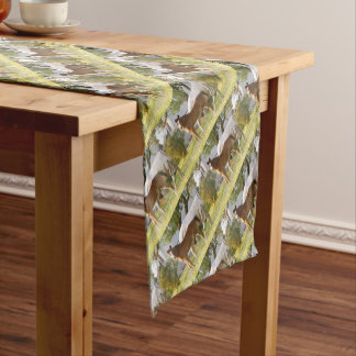 CUTE HORSE FOAL AND MARE SHORT TABLE RUNNER