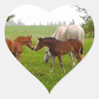 CUTE HORSE FOALS HEART STICKER