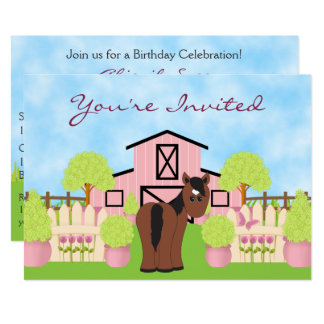 Cute Horse ~ Pretty Pink Barn Birthday Invitation