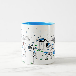 Cute Horse & Sheep Cartoon Two-Tone Coffee Mug