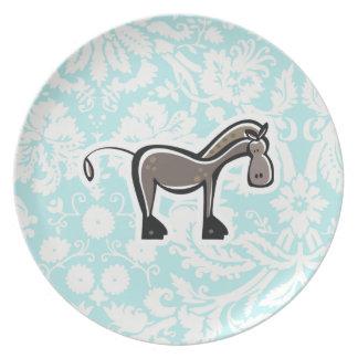 Cute Horse; Teal Dinner Plate