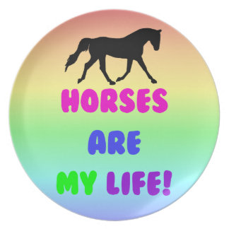 Cute Horses Are My Life Plates
