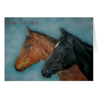cute horses black foal chestnut foal horse card