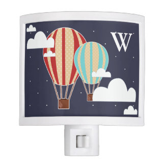 Cute Hot Air Balloons & Clouds Initial Letter Night Lights