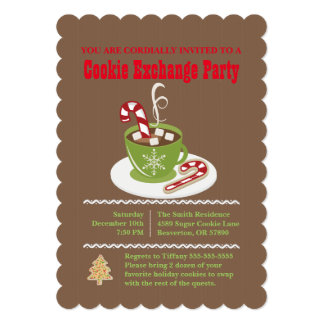 Cute Hot Cocoa Cookie Exchange Holiday Invite