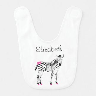 Cute Hot Pink and Black Girly Zebra Baby Name Baby Bibs