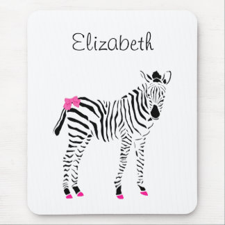 Cute Hot Pink and Black Girly Zebra With Name Mouse Pad