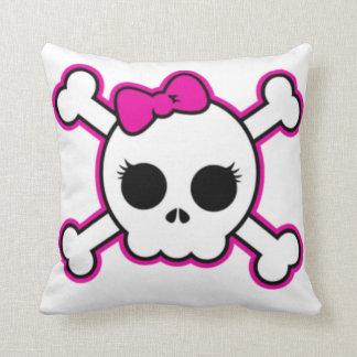 Cute Hot Pink Bow Skull Throw Pillow