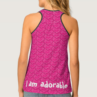 Cute Hot Pink Crayon Hearts All Over Pattern Tank Top