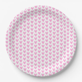 Cute Hot Pink Hearts Pattern Paper Plate