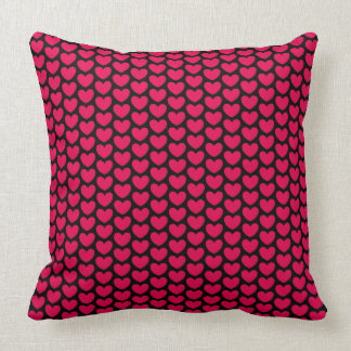 Cute Hot Pink Hearts Pattern Throw Pillow