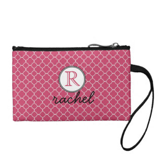 Cute Hot Pink Modern Personalized Coin Purse