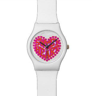 Cute Hot Pink & Orange Sweet Heart Design Watch