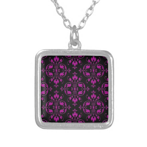 Cute Hot Pink over Black Damask Pendant