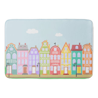 Cute Houses Pastel Bath Mat