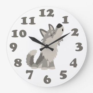 Cute Howling Cartoon Wolf and Numbers Wall Clock