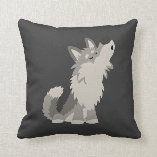 Cute Howling Cartoon Wolf Pillow